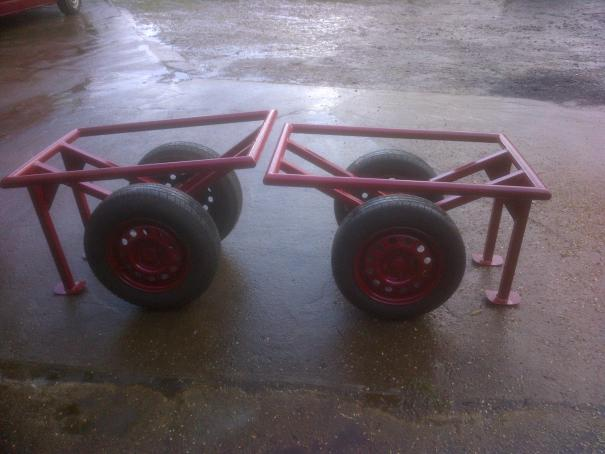 Two Timber framers' Trolleys